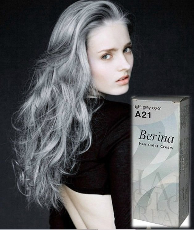 The Best 1X Berina A21 Light Grey Color Hair Cream Color Permanant Pictures