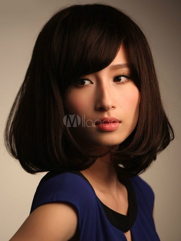The Best 100 Real Hair Fashion Wig New Women S Medium Long Dark Brown Human Hair Wigs Ebay Pictures