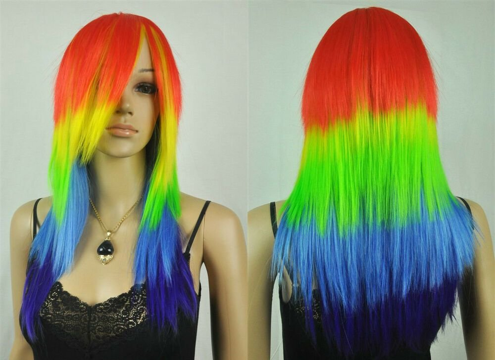 The Best Multi Color Red Yellow Green Blue Long Straight Women S Lady S Hair Wig Wigs Cap Ebay Pictures