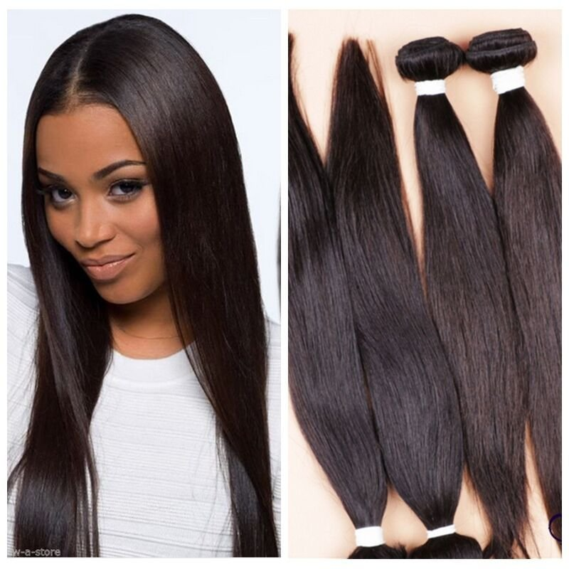 The Best 4 Bundles 18 Remy V*Rg*N Brazilian Straight Human Hair Weave Extensions 200G Ebay Pictures
