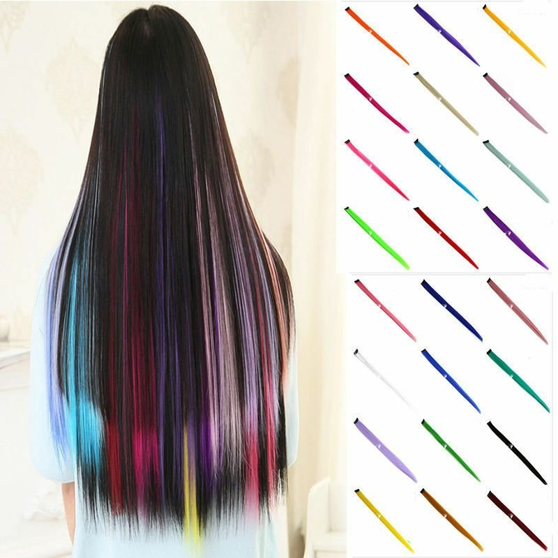The Best New Women Multi Color Long Straight Synthetic Clip In On Hair Extensions Piece Ebay Pictures