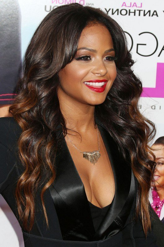 The Best Christina Milian Highlighted Long Wavy Hairstyle For Black Pictures
