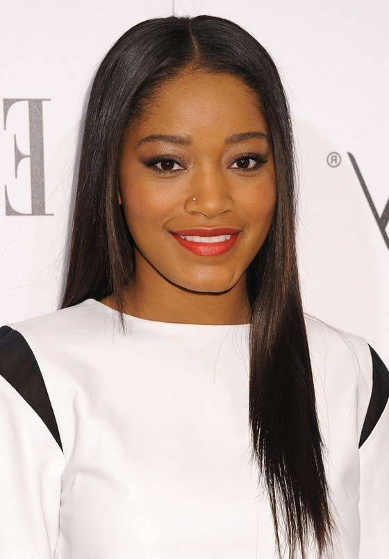 The Best Keke Palmer Latest Center Parting Sleek Straight Black Pictures