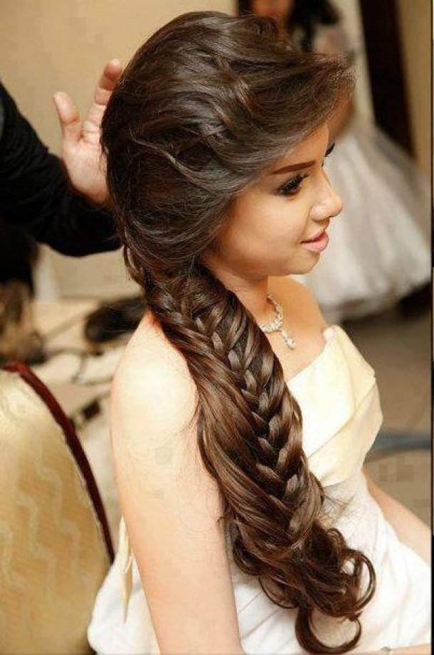 The Best Long Braided Hairstyle With Side Swept Fringe Talk Pictures