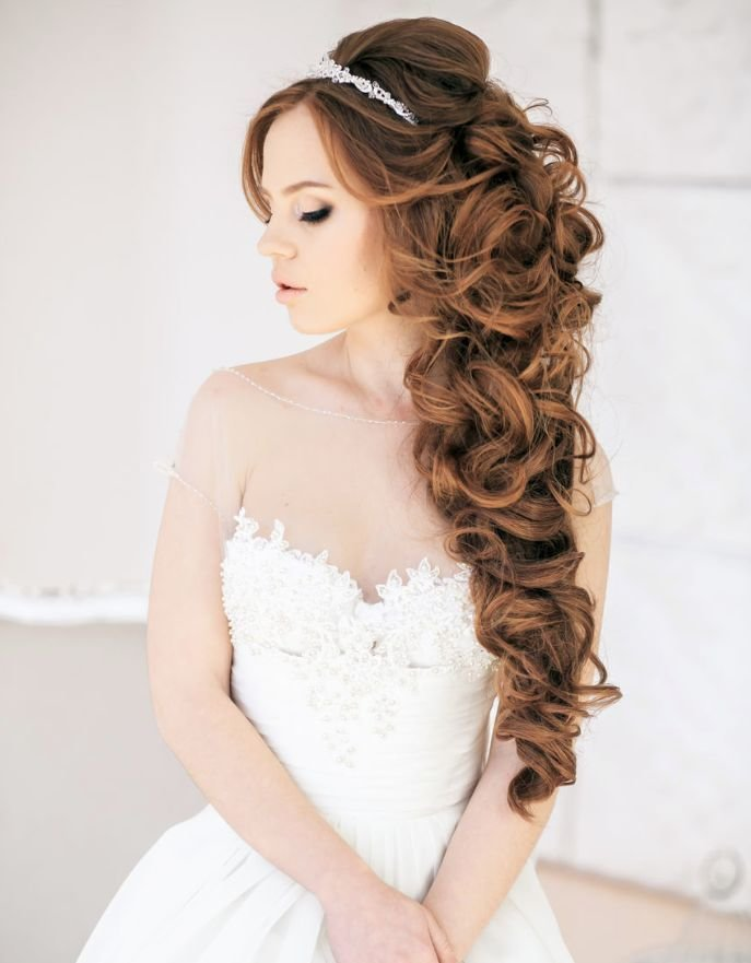 The Best Long Curly Half Up Half Down Wedding Hairstyle Tulleandchantilly Com Pictures