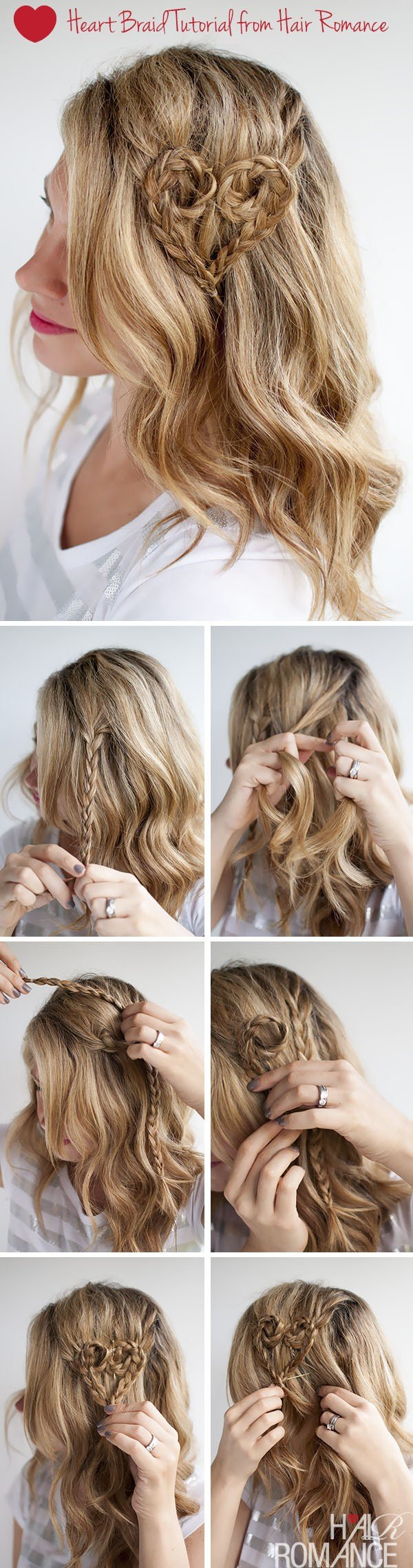 The Best Valentine S Day Hairstyle Tutorial Heart Braid Hairstyle Pictures