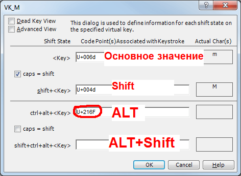 MS Keyboard Layout Creator окно редактирования всех значений кнопки