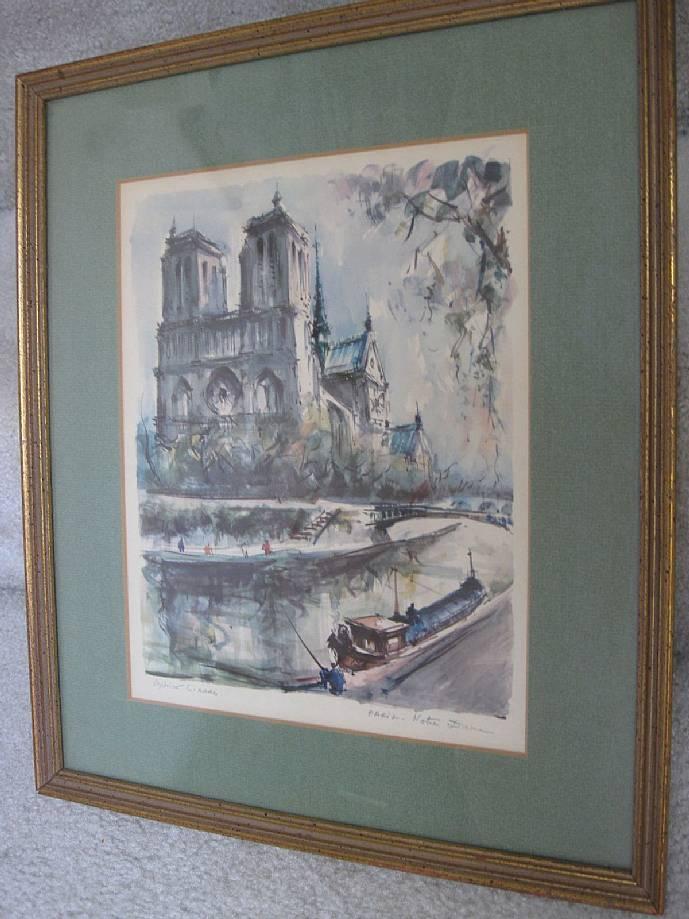 Marius Girard Signed Watercolor Notre Dame Paris France