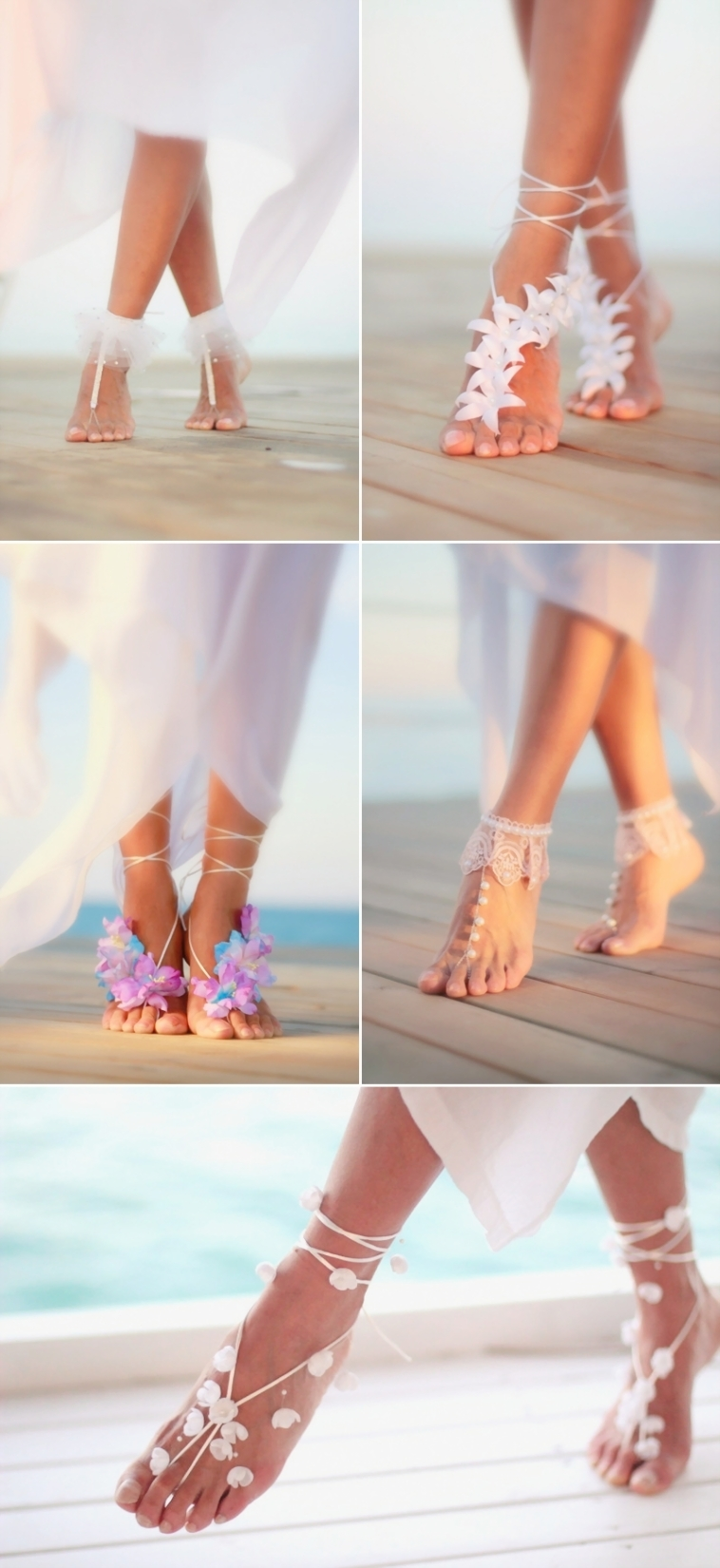 Gorgeous Wedding Barefoot Sandals For Beach Wedding Party ...