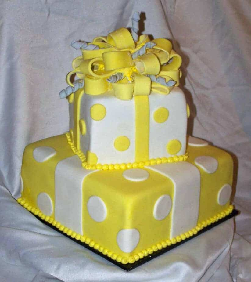 Yellow And Grey Baby Shower Cake