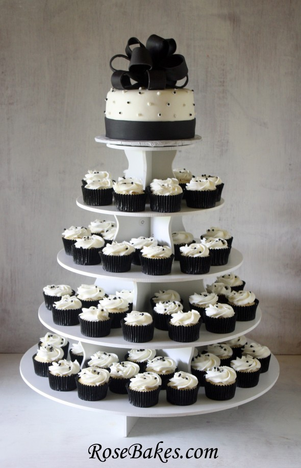 Black   White Wedding Cake and Cupcake Tower The cake and cupcakes