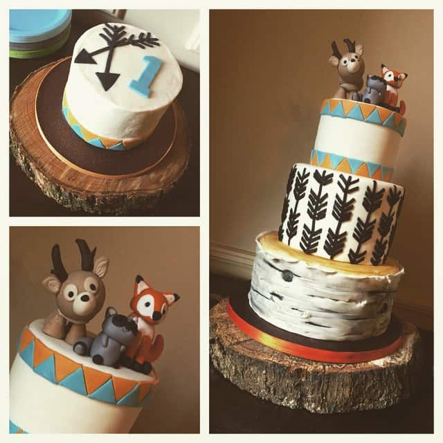 Woodland Animals Cake with Arrows & Birch Tree - Rose Bakes