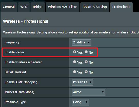 Sluk Wi Fi på Asus Router