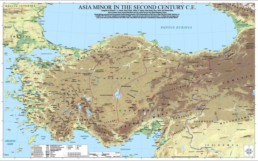 Asia Minor in the Second Century CE  A New Wall Map From the Ancient     Asia Minor in the Second Century CE  A New Wall Map From the Ancient World  Mapping Center