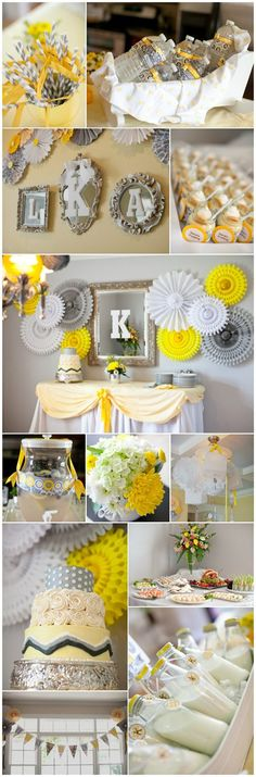 Shower Yellow Grey Decorations Baby
