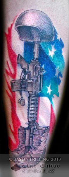 Army Boot Helmet Gun Tattoo