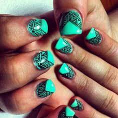 Mint Nail Art With Sparkles Hair And Makeup And Nails