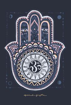 Set of ornamental indian symbols vector. Hamsa hand by ...
