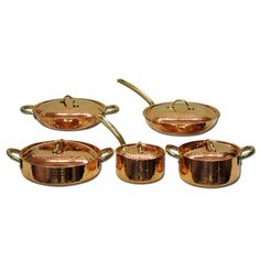 Copper Cookware Double Handle Saucepan 7  w  Lid   Brass Handles     Copper Cookware Double Handle Saute Pan With Lid     Home Decor   Paykoc  Imports  Inc