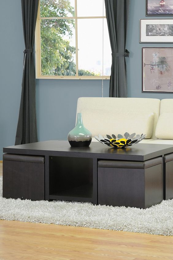Cube Coffee Table 4 Storage Ottomans