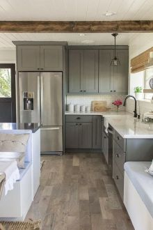13 l Shaped Kitchen Layout Options For A Great Home   Love Home Designs The gray cabinets here work well with the wood plank style of the floors   The