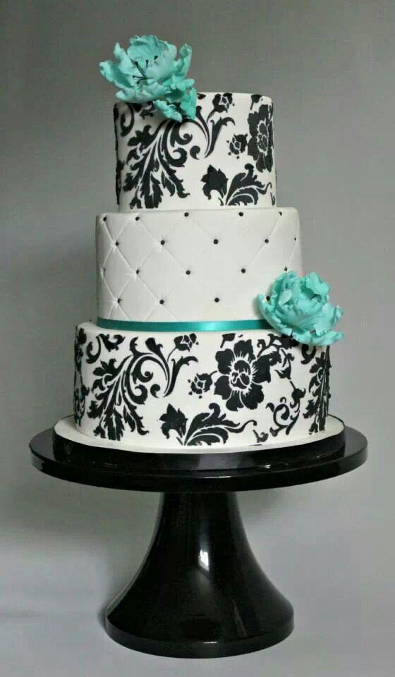 And Black Turquoise Wedding White Cakes