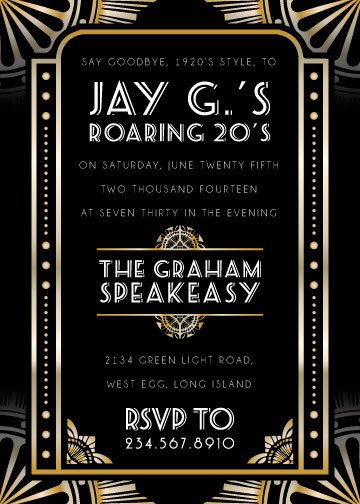 Roaring 1920s Party Invitations Wording