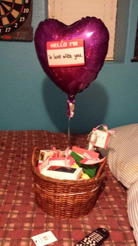 Valentine's Day gift basket for my boyfriend. His favorite ...