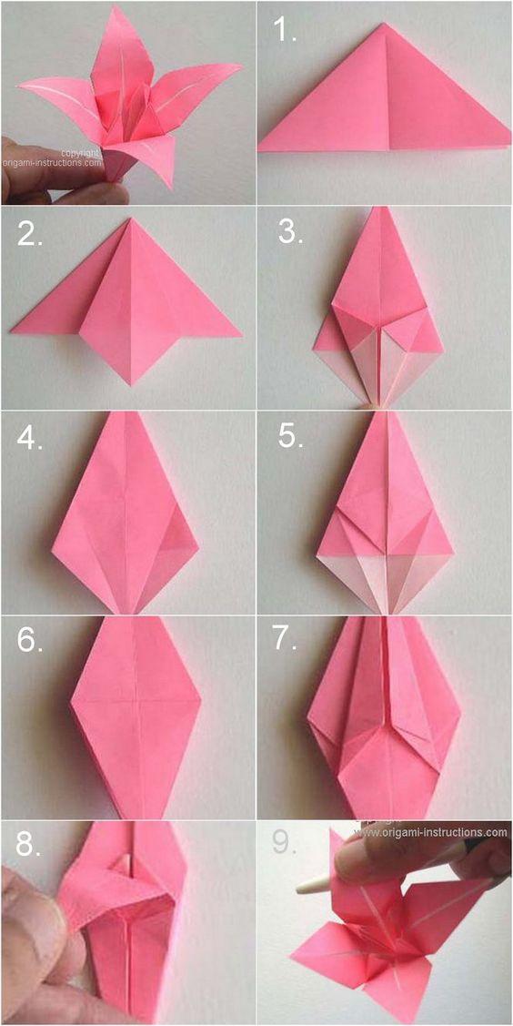 Simple Origami 4 Petal Rose