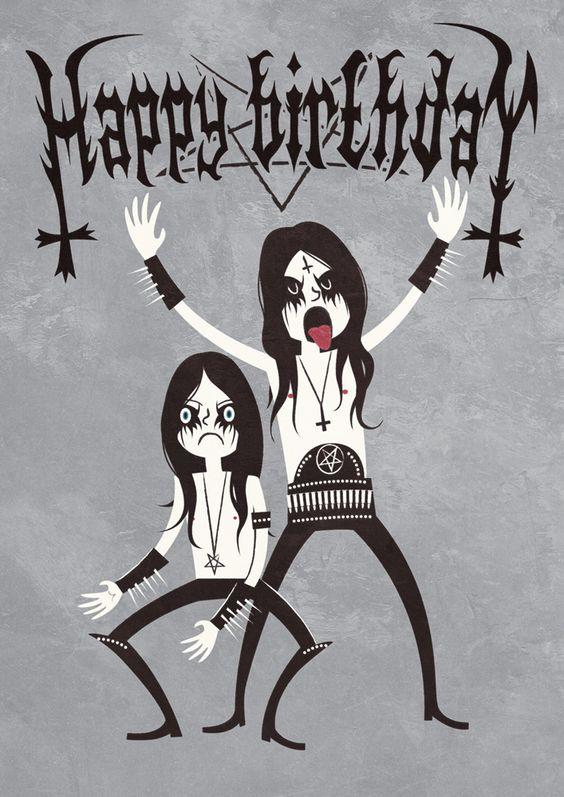 Heavy Metal Birthday Art Happy