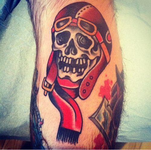 Grim Reaper Holding Gun Tattoo