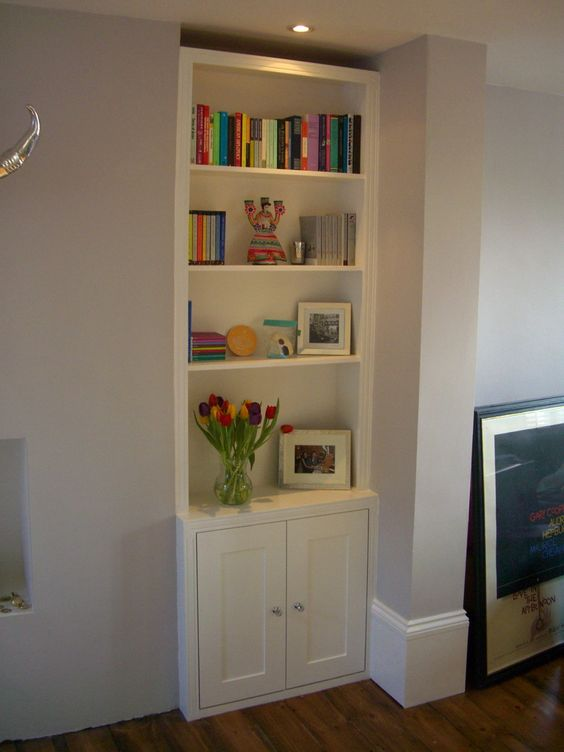 Recessed Tv And Shelves In Alcove