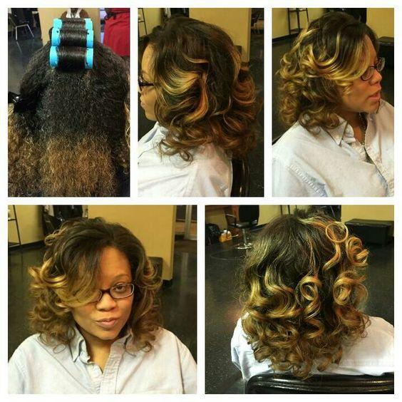 Black Hair Roller Wrap Hairstyle