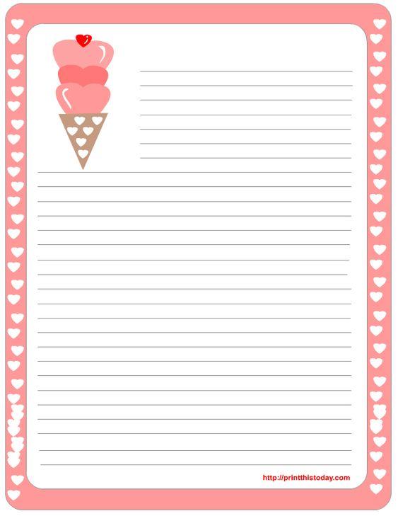 Ice Cream Printable Stationery Borders