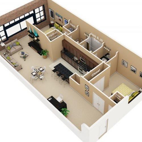House 2 1200 Bedrooms Ft 2 Sq Plans Baths
