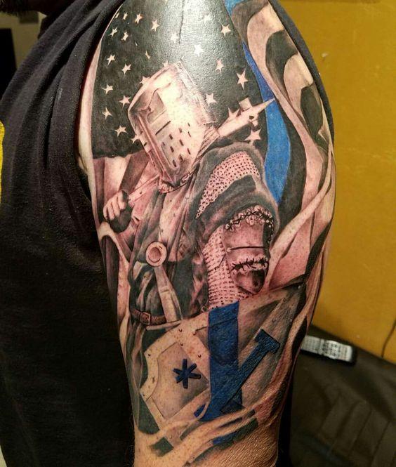 Thin Red Line Flag Tattoo