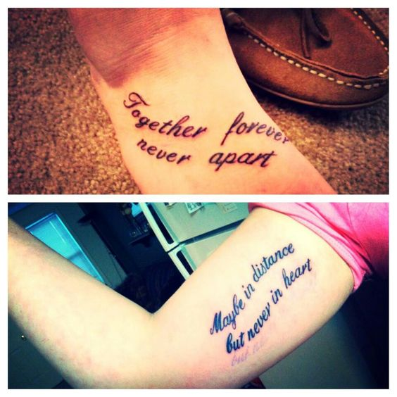 Maybe Distance Tattoo Quote Forever Never Together Heart Never Apart