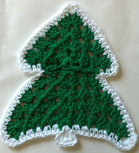 Knitted Dish Cloth Pattern Christmas Tree