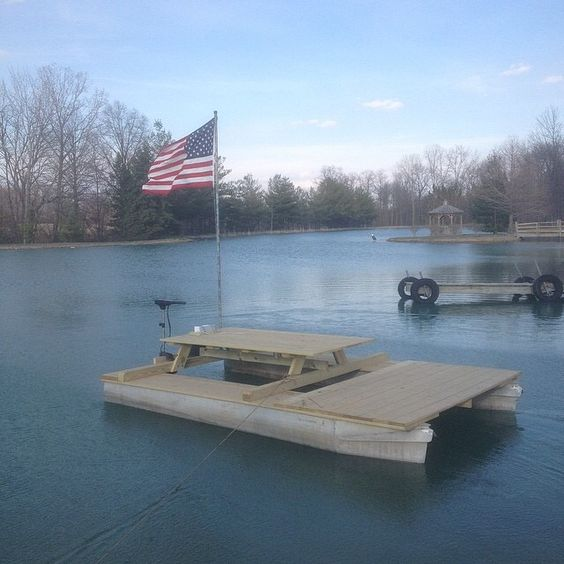 Floating picnic table pontoon watchthetrailerfo
