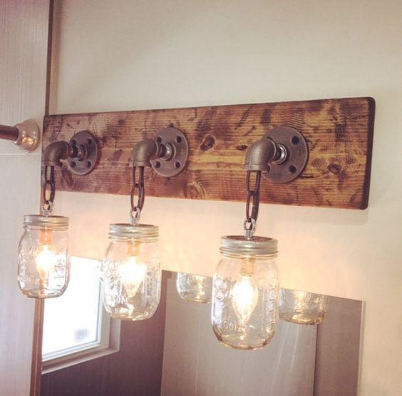 Rustic Light Fixtures Bathroom