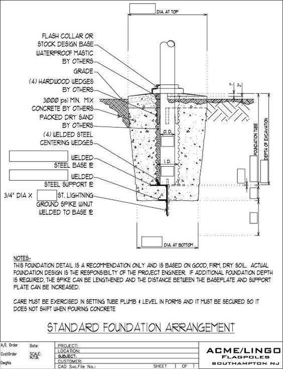 Light Pole Concrete Specs Base