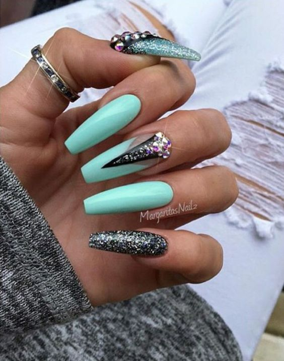 Nail Shape Coffin Turquoise