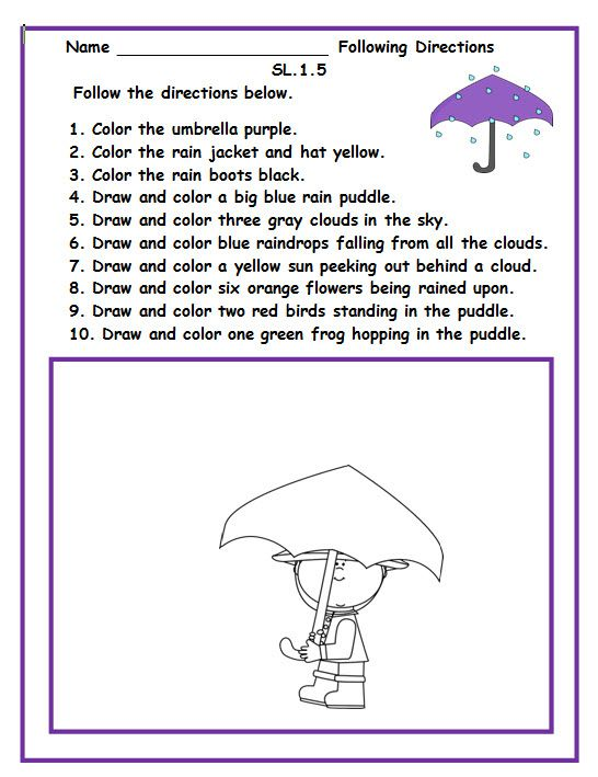 Following Directions Worksheets For Preschool