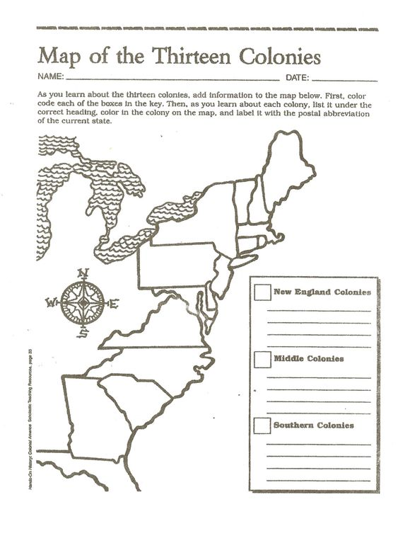 Blank Map English Colonies