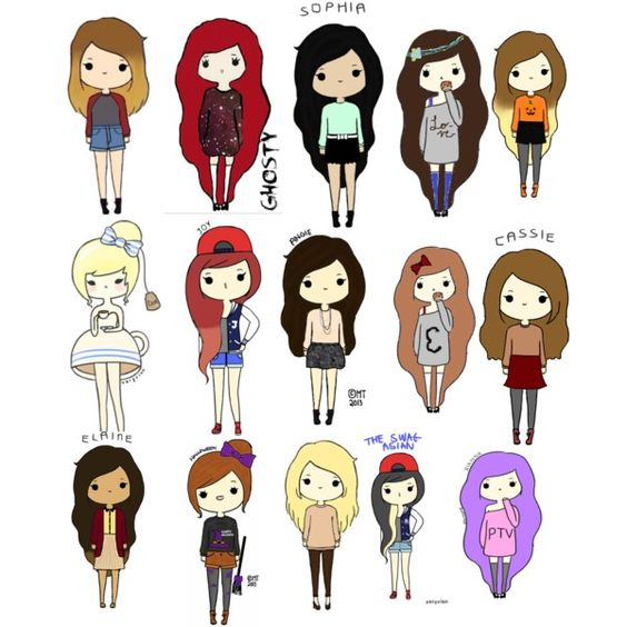 Polyvore Girl Cartoon Drawings Sporty