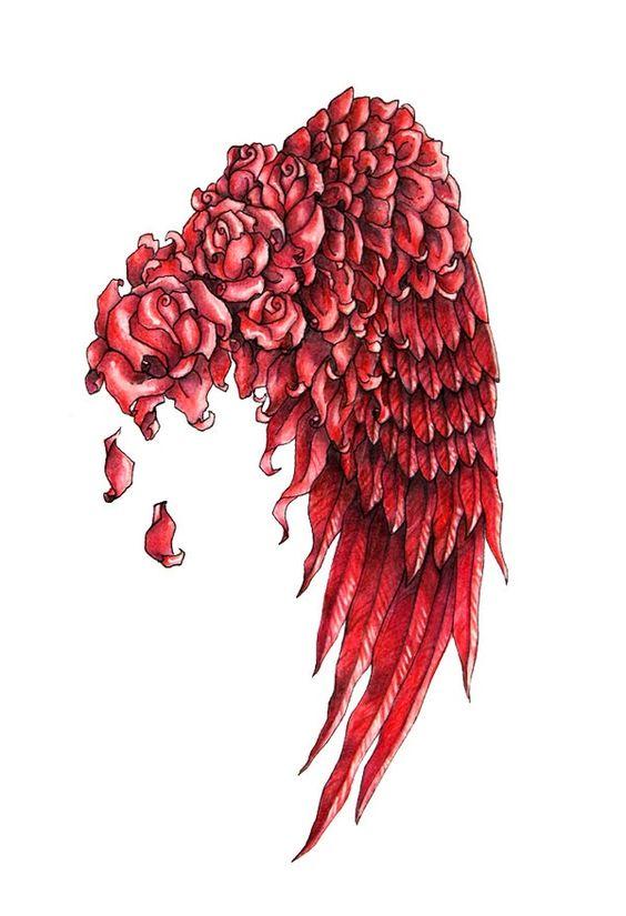 Purple Wings Tattoo Rose Angel
