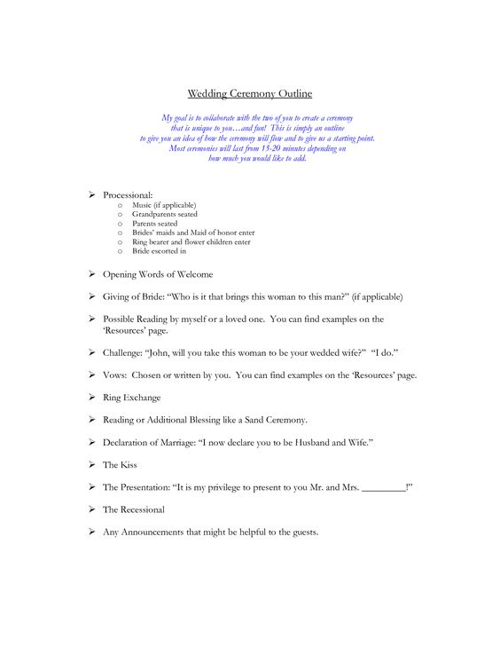 Traditional Christian Wedding Ceremony Outline