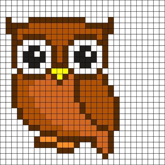 Kawaii Animal Pixel Art Grid