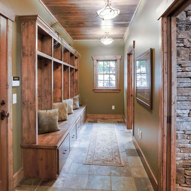 Like The Green With Wood Trim For Our Mudroom Rustic