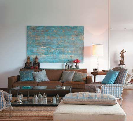 Sala Marrom Azul Salas Pinterest
